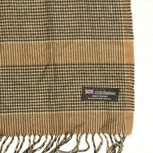 100% Cashmere Scarf Made in Scotland Tan Black Hou
